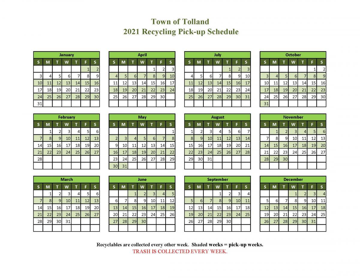 2020 Recycling Calendar